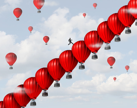 Photo pour Business management success leadership concept as a group of red air balloons stacked in a staircase or stairs formation so a businessman leader can climb steps towards a financial or career goal as a creative support metaphor. - image libre de droit