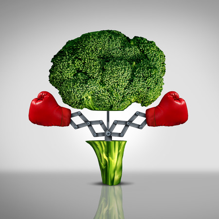 Photo pour Superfood protection health care concept and cancer disease fighting food symbol as a healthy natural nutrition icon with red boxing gloves emerging out of an open broccoli vegetable as a fitness diet metaphor. - image libre de droit