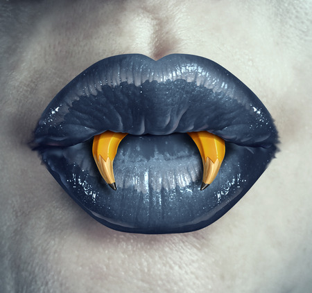 Foto de Vampire creativity concept as the lips of a zombie character with pencils shaped as pointy fangs represeting strategic creative thinking in marketing and advertising strategy or a metaphor for halloween creative thinking. - Imagen libre de derechos