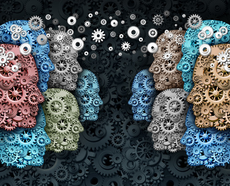Foto de Social business and crowd media internet communication marketing web concept as a group of people made of gears and cogs in a global network connected for a strong cooperation and society technology. - Imagen libre de derechos