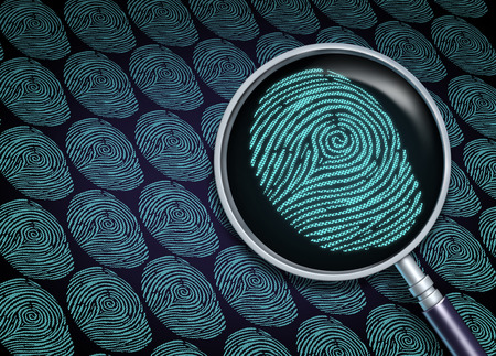 Photo pour Identity search concept or choosing the right employee as a recruitment and human resource symbol with a magnifying glass in a close up of a finger print or fingerprint as a security information technology metaphor. - image libre de droit
