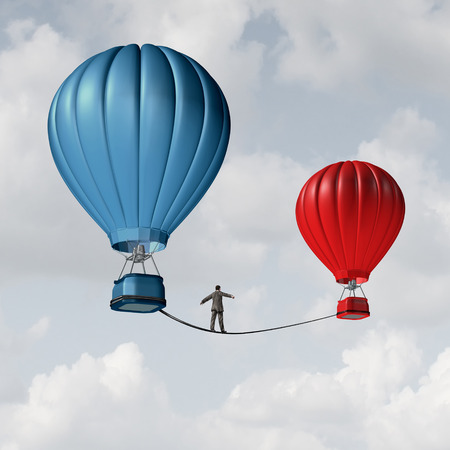 Photo pour Change challenge and caution business motivational concept as person walking on a tight rope high wire from one hot air balloon to another as taking a risk and danger metaphor for changing position or career. - image libre de droit