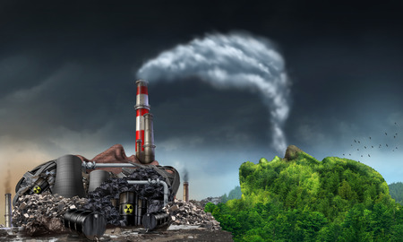 Foto de Industry pollution environment concept as a human head shaped as a dirty power plant releasing toxic waste in the water and smoke stacks with plumes of dirty smoke being breathed by a green natural mountain in the shape of a face. - Imagen libre de derechos