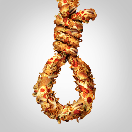 Photo for Diet noose concept as a group of greasy fast food shaped as a hangman rope as a symbol for nutritional cholesterol danger and a social issue for the danger of obesity and not eating healthy. - Royalty Free Image