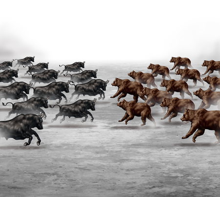 Photo pour Stock market trend business concept and financial prediction uncertainty symbol as a heard of bulls and bears running towards each other to set the direction of an economic forecast. - image libre de droit