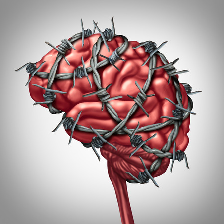 Foto de Brain pain medical health care concept as a human thinking organ with barbwire or sharp barb wire fence wrapped around the anatomy as a symbol for a painful inflamation illness or migraine and headache suffering. - Imagen libre de derechos