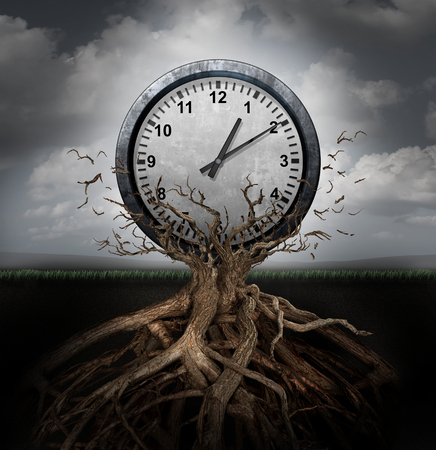 Photo pour Time planning and efficiency management business concept as a clock breaking free from a tree trunk as a surreal symbol for productivity schedule and strategy. - image libre de droit