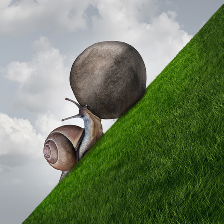 Photo for Perseverance symbol and sisyphus symbol as a determined snail pushing a boulder up a grass mountain as a metaphor persistence and determination to succeed. - Royalty Free Image