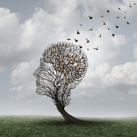Photo pour Memory loss concept and Alzheimer patient surreal symbol as a medical mental health care concept with an empty head shaped  tree and a group of birds shaped as a brain for neurology and dementia or losing intelligence. - image libre de droit