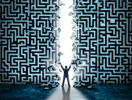 Foto de Entrance business solution concept as a businessman opening a maze or labyrinth creating a doorway with glowing light as a metaphor for opportunity and solving a problem. - Imagen libre de derechos