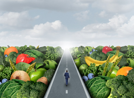 Photo pour Eating healthy path concept as a person walking on a road with fruits and vegetables as an agriculture metaphor for organic market fresh health food or genetically modified produce. - image libre de droit