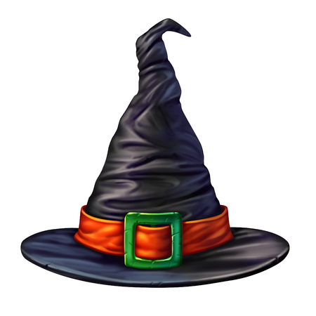 Photo pour Witch hat isolated on a white background as a spooky mystical dimensional black head garment for a sorcerer or sorceress halloween graphic element of a seasonal magical character. - image libre de droit