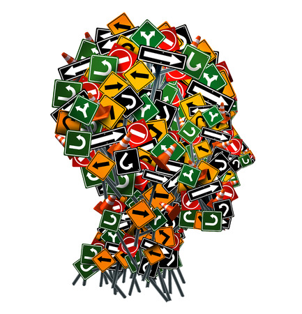 Photo pour Confused thinking and uncertainty symbol as a group of traffic or road arrow signs shaped as a human head as a decision making crisis  or being lost in confusion concept on a white background. - image libre de droit