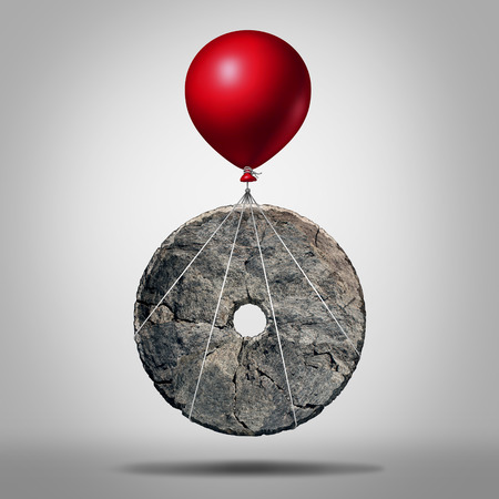 Photo pour Technology progress and invention revolution,symbol as an early stone wheel being lifted by a balloon as a modernization metaphor for advancing innovation as an icon for business evolution. - image libre de droit