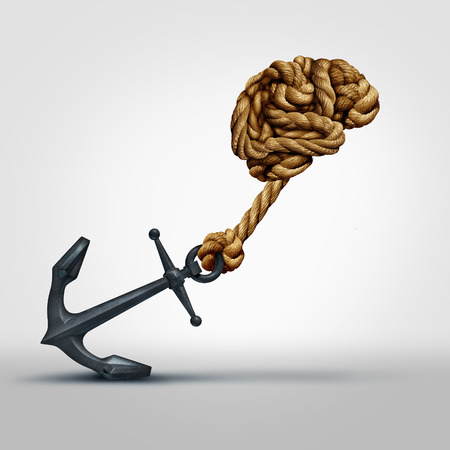 Foto de Brain strength concept as a group of ropes shaped as human thinking organ pulling a heavy anchor as a symbol for cognitive function and exercises to strengthen the mind through education and learning. - Imagen libre de derechos