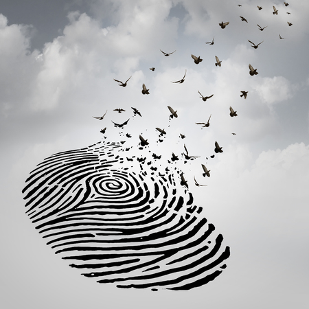 Foto de Identity freedom concept as a fingerprint transforming into flying birds as a metaphor for a person losing a psychological identity or a symbol of death and renewal after a loss of a loved one. - Imagen libre de derechos