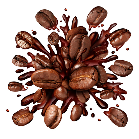 Foto de Coffee splash with coffee beans flying out as a dark roast brew with splashing fresh hot brewed liquid as a symbol for a breakfast drink isolated on a white background. - Imagen libre de derechos