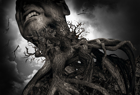 Photo pour Suffering and pain concept as a tree and roots shaped as a human experiencing intense torture and mental agony as a psychology metaphor for misery or trapped by addiction. - image libre de droit