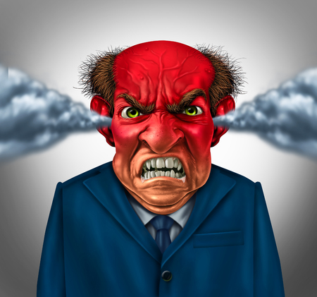 Angry boss concept as an outraged business manager with a short temper blowing steam and foaming at the mouth as a corporate symbol for anger and stress at work.
