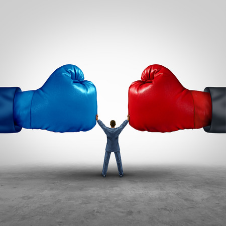 Photo for Mediate and legal mediation business concept as a businessman or person separating two boxing glove opposing competitors as an arbitration success symbol for finding common interests to lawfully solve a conflict. - Royalty Free Image