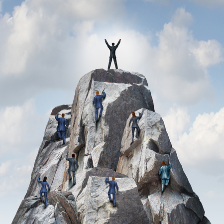 Photo pour Climb to the top career business concept as a group of businesspeople climbing a rock mountain with one individual leader reaching the summit or peak as a success metaphor. - image libre de droit