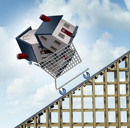 Photo for Rising house prices and home price price increase or growth as a soaring real estate value financial concept and sold houses in a shopping cart going up a roller coaster as surging residential business financial concept. - Royalty Free Image