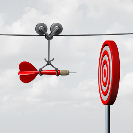 Photo pour Success hitting target as a business assistance concept with the help of a guide as a symbol for goal achievement management and aim to hit the bull's eye as a dart assured to go straight towards the center. - image libre de droit