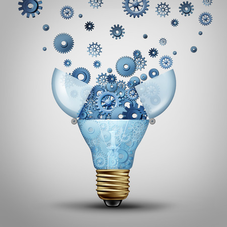 Photo pour Creative communication solution and clever marketing ideas through distribution as an open lightbulb with a group of gears and cog wheels released spreading out as a metaphor for brainstorm or brainstorming. - image libre de droit