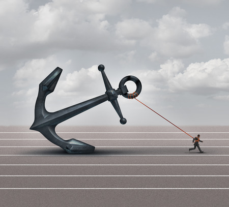 Photo pour Career burden and business stress concept as a businessman or worker pulling a giant heavy metal anchor as a metaphor for hardship and strugge with taxes or oppression. - image libre de droit