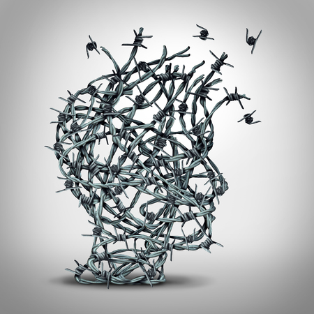 Foto de Anxiety solution and freedom from fear and escape from tortured thinking and depression concept as a group of tangled barbwire or barbed wire fence shaped as a human head breaking free as a metaphor for psychological or psychiatric icon. - Imagen libre de derechos