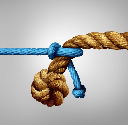 Foto de Different sized partnership concept as a thin blue cord pulling on a very thick rope as a metaphor for small and big business cooperation or unity with diversity. - Imagen libre de derechos