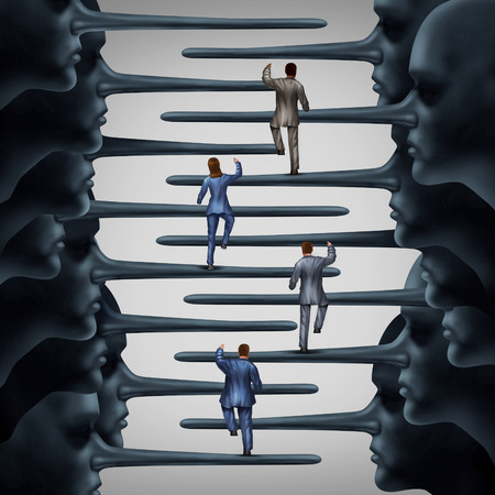 Photo pour Corrupt system concept and dishonest organization idea as a group of business people climbing a ladder shaped with fraudulent members of leadership with long liar noses as a metaphor for corporate or structural corruption and fraud. - image libre de droit