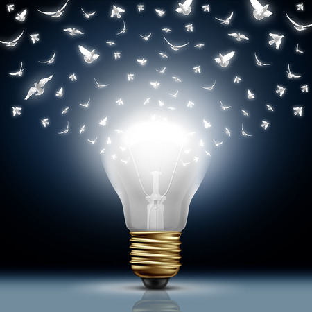 Photo pour Creative start concept as a bright illuminated light bulb transforming to white flying birds as a digital messaging metaphor and social media creativity and distribution of innovative new ideas. - image libre de droit