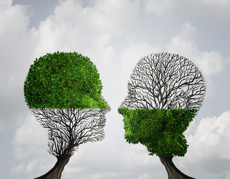 Foto de Complement each other concept as two trees with half of the tree with full leaves and the other with none as a business or life metaphor for synergy and alliance with an equal partnership with common interests. - Imagen libre de derechos