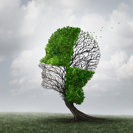 Photo pour Compartmentalization and compartmentalize psychology as a mind defense mechanism concept or mental health disease metaphor as dementia with a tree shaped as a head with a checkered pattern as a cognitive and neurology icon. - image libre de droit