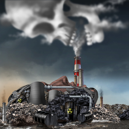 Foto de Toxic smoke symbol as a dirty industrial factory with garbage smoke stacks and a nuclear power plant shaped as a human face polluting the environment with toxins in the air shaped as a skull. - Imagen libre de derechos