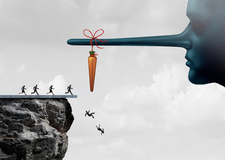 Foto de Incentive trap and corrupt leader business concept as a group of people running towards a carrot tied to a liar nose only to have been tricked and fooled into fall off a cliff as a metaphor for entrapment or bait trapping in a risky economy. - Imagen libre de derechos