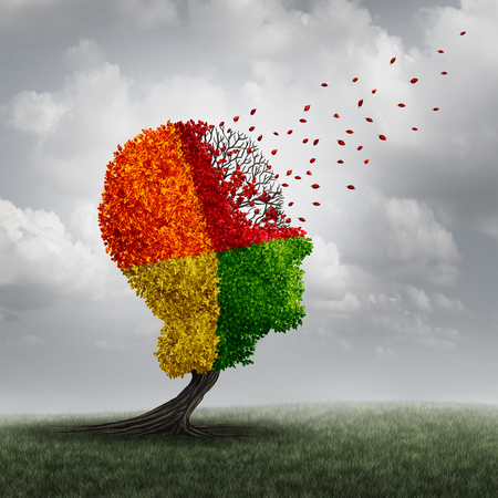 Foto de Dementia brain loss memory problem and aging due to cognitive disease and alzheimer's illness as a medical icon of a group of color changing autumn fall tree shaped as a human head losing leaves with winds of change. - Imagen libre de derechos