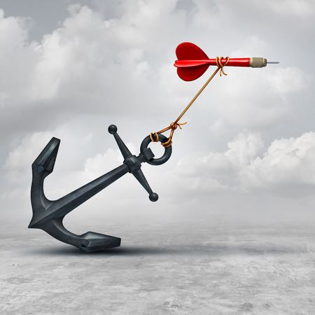 Photo pour Challenges in business as a dart being slowed down by a heavy anchor as an adversity metaphor and symbol or overcoming a handicap to achieve your goal to reach the target. - image libre de droit