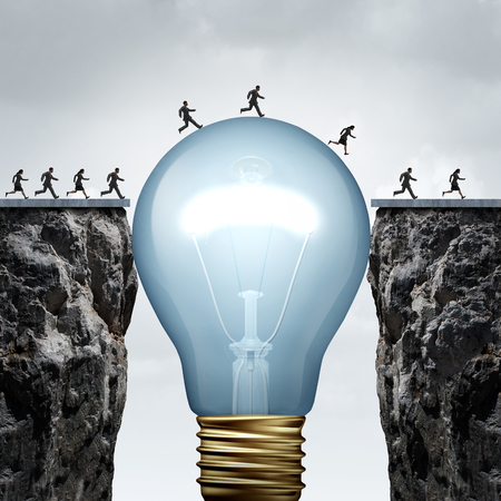 Photo pour Creativity business idea solution as a group of people on two divided cliffs being connected by a giant light bulb closing the gap and creating a bridge to enable a crossing to success as a cretive thinking metaphor.. - image libre de droit
