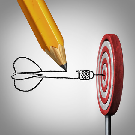 Foto de Success goal planning business concept as a pencil drawing a dart hitting the center of a target on a dartboard as a metaphor for controllig your destiny by creating a plan and visualization. - Imagen libre de derechos