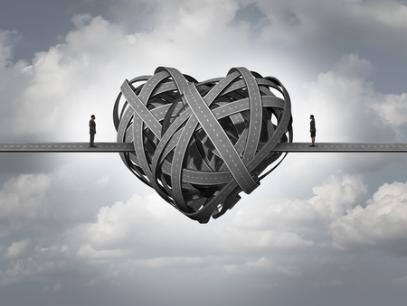 Photo pour Confused about love concept as in stress in a romantic relationship or divorce issues of a married couple and human relationship requiring counseling and couples therapy. - image libre de droit