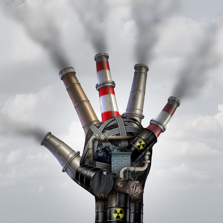Foto de Man made pollution toxic smoke stop symbol as a dirty industrial factory with garbage smoke stacks and a petrochemical refinery plant shaped as a human open hand polluting the environment with toxins in the air. - Imagen libre de derechos