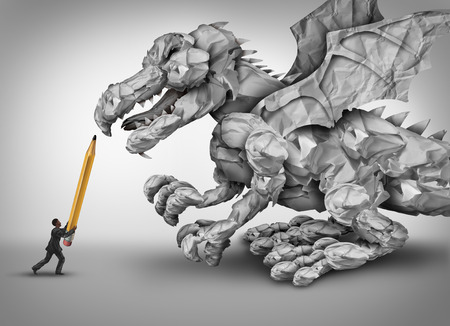 Photo pour Paper stress business concept as a businessman holding a pencil fighting a dragon monster shaped with crumpled papers and office paperwork as a metaphor for management and bureaucracy problem. - image libre de droit