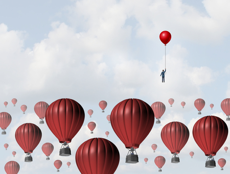 Foto de Increase efficiency and improve performance business concept as a businessman holding a balloon leading the race to the top against a group of slow hot airballoons by using a low cost winning strategy. - Imagen libre de derechos