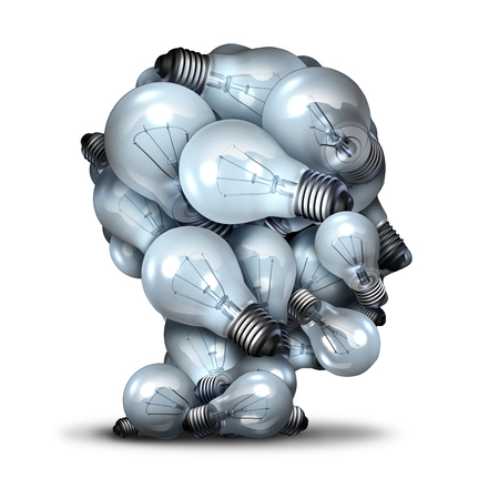 Foto de Light bulb head creativity and the power of imagination concept as a group of lightbulbs shaped as a human face as an inspiration symbol for thinking of new ideas and the inventive mind. - Imagen libre de derechos