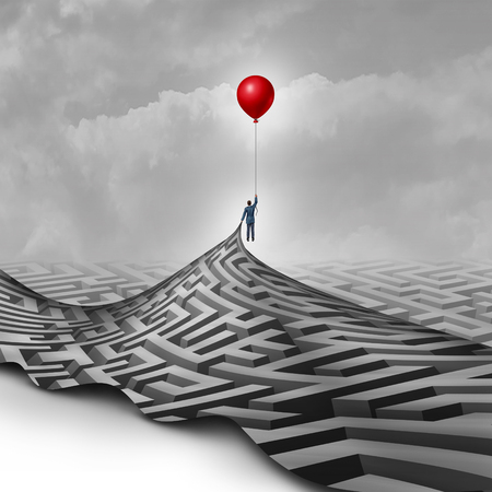 Foto de Businessman success concept as a metaphor to overcome obstacles as a person lifting a maze or labyrinth using a red balloon as a symbol for vision and finding a way to succeed. - Imagen libre de derechos