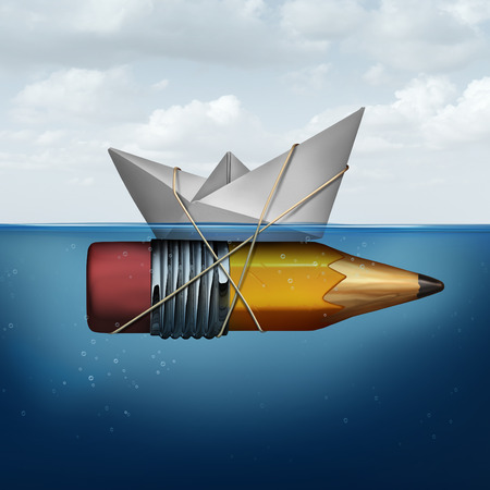 Photo pour Business success tools as a paper boat in the ocean being elevated and supported by an attached pencil as a strategy planning success metaphor for finding innovative ideas to succeed.. - image libre de droit