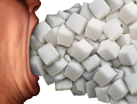 Photo for Too much sugar medical concept as a person with a wide open mouth eating a large group of sweet granulated refined white sugar cubes as a metaphor for unhealthy diet habit  or food ingredient addiction. - Royalty Free Image