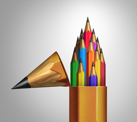 Photo for Community strength and diverse group teamwork concept as an open giant pencil with a team of multicolored smaller pencils inside as a business or education metaphor for unity and corporate diversity success. - Royalty Free Image